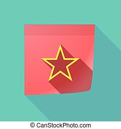 Long shadow note with  the red star of communism icon