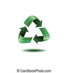 Isolated recyclable icon on a white background, Vector...