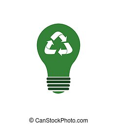 Isolated recyclable icon - Isolated lightbulb with a...