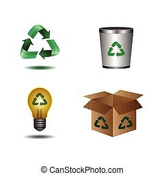 Recyclable icons - Set of different recyclable objects,...