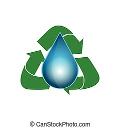 Isolated recyclable icon - Isolated drop of water with a...
