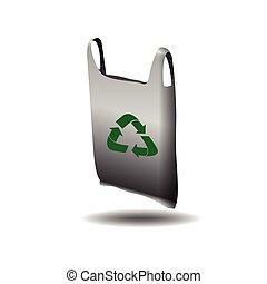 Isolated recyclable icon - Isolated recyclable plastic bag...