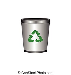 Isolated recyclable icon - Isolated trash can with a...