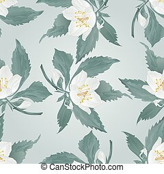 Seamless texture Jasmine and buds spring flower vector.eps -...
