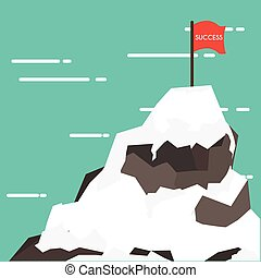 Business concept success and mission. Red flag on a Mountain...