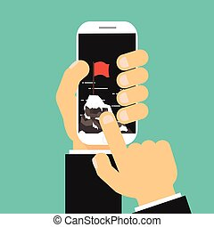 Businessman hand click pointe success and mission on cell...