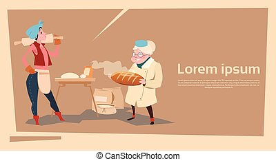 Farmer Country Woman Cooking Bread Agriculture Cartoon...