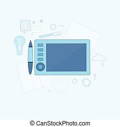 Design Idea Graphic Designer Drawing Icon Web Thin Line...