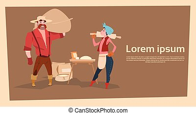 Farmer Country Woman And Man Baking Bread Agriculture...