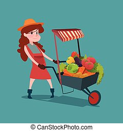Woman Trolley With Fresh Vegetable Harvest Shop Eco Farming...