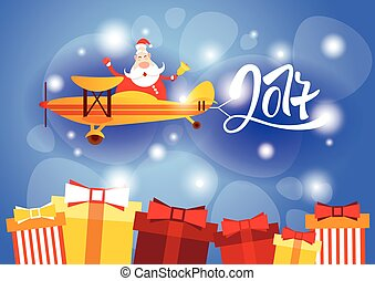 Santa Clause Flying Airplane Happy New Year Decoration...