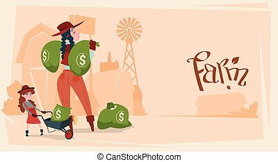 Farmer Country Woman Hold Big Money Sack Success Agriculture...