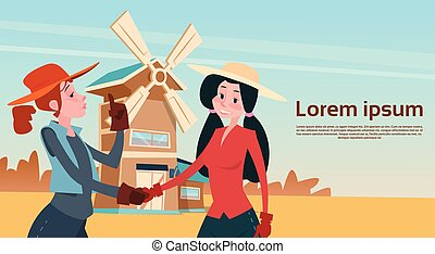Farmer Country Woman Hand Shake Agriculture Farmland Background
