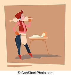 Farmer Country Woman Agriculture Business Cartoon Character...