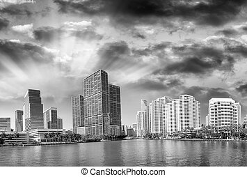 Brickell Key, Miami. City skyline at sunset, panoramic view.
