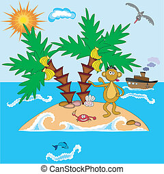 Island with monkey and palms at the sea.