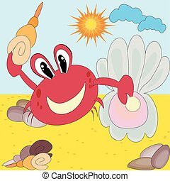Red crab with shells