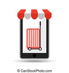 online shopping red trolley design