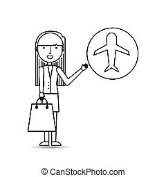 drawing girl shopping with ticket plane