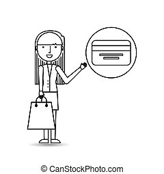 drawing girl shopping with credit card