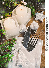 Table Place Setting for Christmas Eve. Winter Holidays. Christmas background.