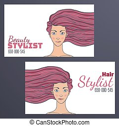 Barber Business Card with a picture of a beautiful girl with developing hair. Empty space for your text. Vector illustration.