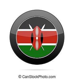 Flag of Kenya. Shiny black round button. - National flag of...