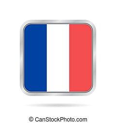 gris, carrée, drapeau, bouton,  france, métallique, brillant