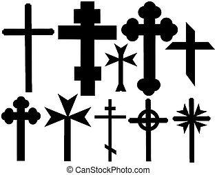 christian crosses - collection of vector isolated christian...