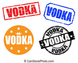 Set of vodka stamps - set of grunge rubber ink stamps with...