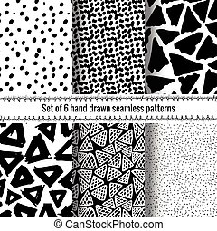 Hand Drawn Seamless Triangle Pattern With Ink Doodles. Black...