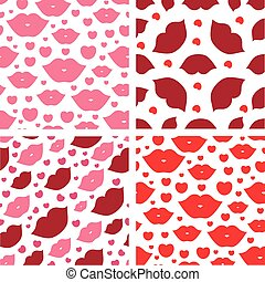 Seamless vector illustration with lips or kiss - Set of...