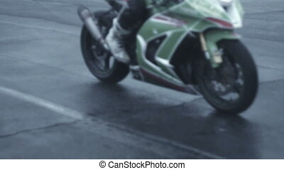 close-up of two sports motorcycle crossing frame hd