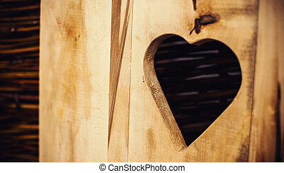 Etched Heart in Wooden Door - Conceptual composition, etched...