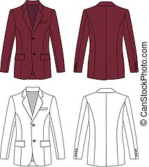 Man's buttoned jacket - Long sleeve man's buttoned burgundy...
