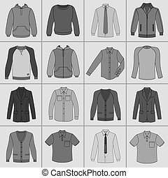 Men's clothing set - Men's clothing outlined template set...
