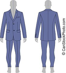 Man in suit - Full length man's grey silhouette figure in a...