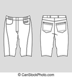 Skinny shorts - Unisex outlined template skinny shorts front...