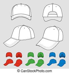 Cap set - Baseball, tennis cap colored vector illustration...