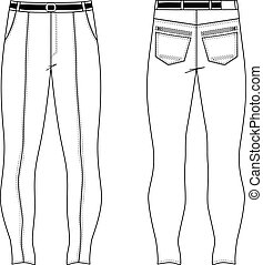 Skinny jeans - Unisex outlined template skinny jeans front &...