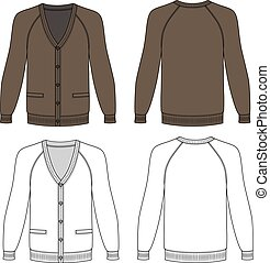 Long sleeve cardigan - Blank long sleeve brown raglan...
