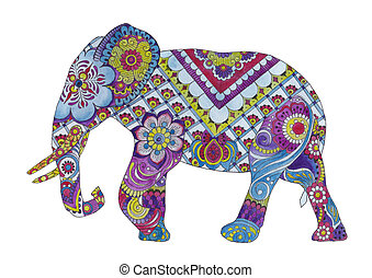 Elephant with oriental ornaments on a white background