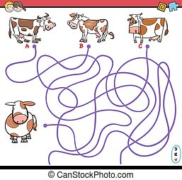 path maze game with cows - Cartoon Illustration of Paths or...