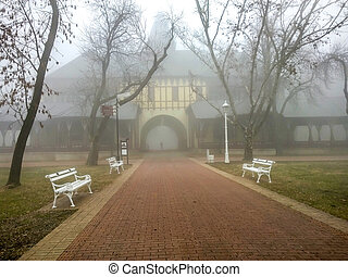 Grand Terrace Palic in fog Palic, Subotica, Serbia - Januray...