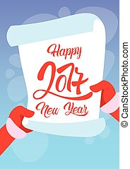 Santa Claus Hands Scroll Merry Christmas Happy New Year Wish...