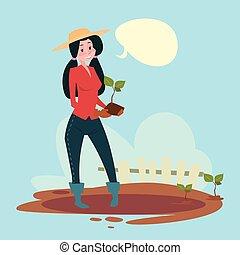 Farmer Woman Plant Tree Eco Farming Flat Vector Illustration