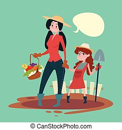 Small Girl Farmers Daughter And Mother Hold Spade Growing Harvest Banner Copy Space