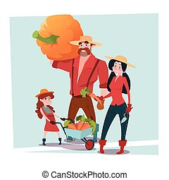 Farmers Parents And Daughter Gather Harvest Flat Vector...