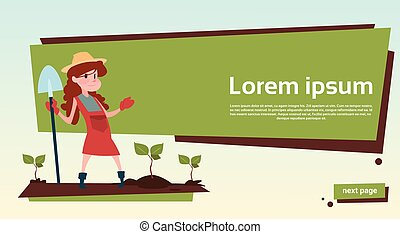 Small Girl Farmers Daughter Hold Spade Growing Harvest Banner Copy Space