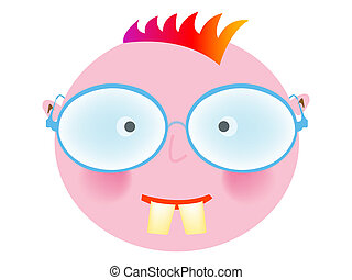 punk boy with glasses against white background, abstract art...